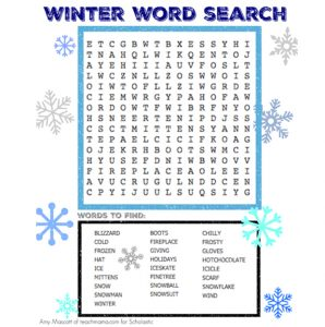 First Grade Word Search Winter