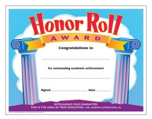 Free Honor Roll Certificate