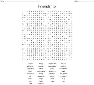 Friendship Word Search