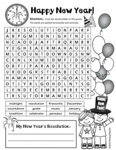 Happy New Year Word Search Puzzle