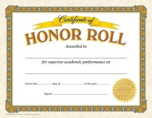 Honor Roll Certificate Templates Free
