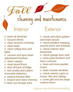 Images of Fall Cleaning Checklist