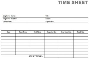 Images of Printable Time Sheets