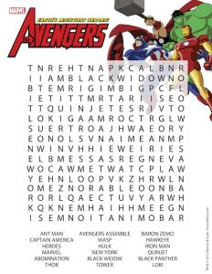Marvel Avengers Word Search
