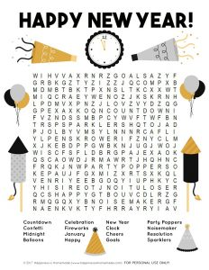 New Year Word Search Worksheets