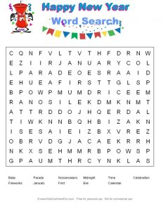 New Year Word Search for Kids