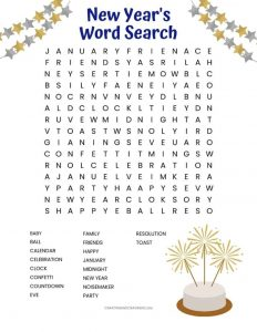 New Years Word Search Puzzles Printable