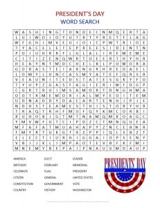 Presidents Day Word Search Printable