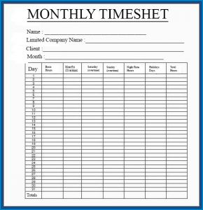 Printable Time Sheets Monthly