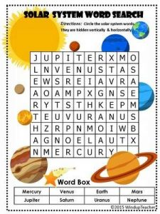 Solar System Word Search for Kids