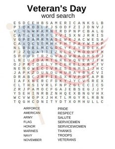 Veterans Day Word Search to Print