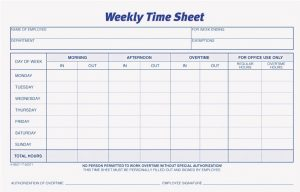 Weekly Time Sheets