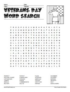 Word Search for Veterans Day