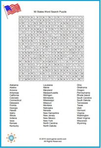 Word Search of the 50 States Printable