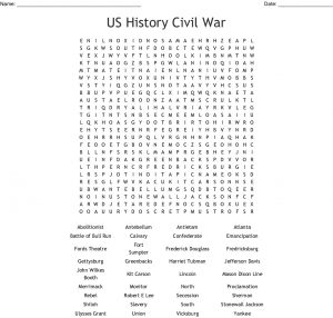 American Civil War Word Search Worksheet