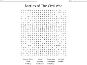 Civil War Battles Word Search