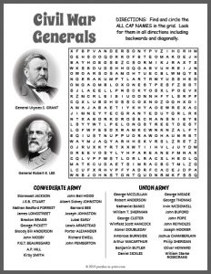 Civil War Word Search Image