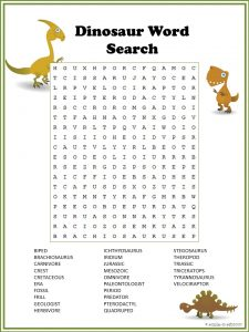 Easy Dinosaur Word Search