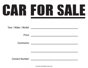 For Sale Sign Car Window Printable