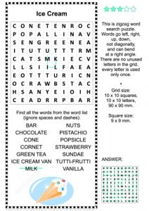 Ice Cream Word Search for Kids