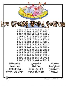 Printable Ice Cream Word Search