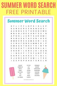 Summer Ice Cream Word Search