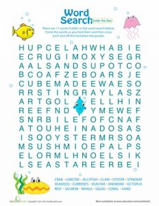 Under the Sea Word Search Printable